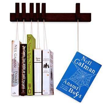 Agustav Boekenrek Mini Hangende Boeken Wanddecoratie & -planken Bruin Hout