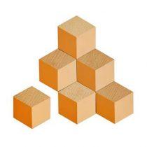 Areaware 3D Tegel Onderzetters - set van 6 Tafelpresentatie Oranje Kurk