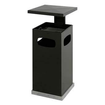 As-papierbak met Afneembaar Afdak Afvalemmers Zwart Metaal