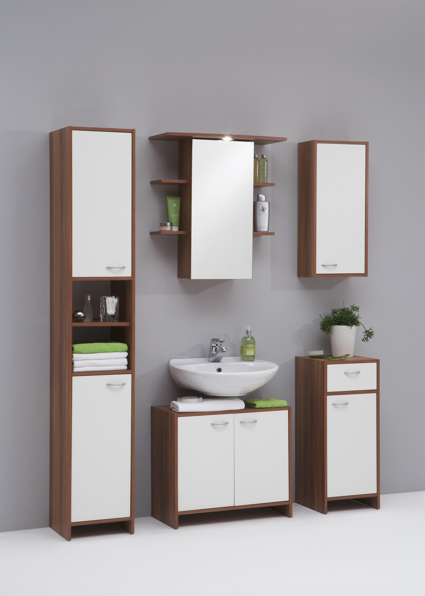 Badkamer hangkast Madrid 1 - Wit met Walnoot - Woon Woon