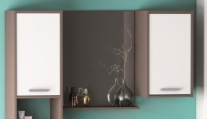 Badkamer hangkast Thais - wit met basalt - Young Furniture