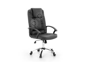 Beliani Bureaustoel met massagefunctie - zwart - RELAX Stoelen Zwart Kunstleer