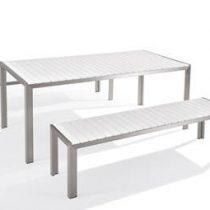 Beliani Tuinmeubel wit - tafel 180cm - 2 banken - NARDO Tuinmeubelen Wit Kunststof