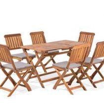 Beliani Tuinmeubelset tafel en 6 stoelen CENTO Tuinmeubelen Bruin Hout