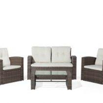 Beliani Tuinset - wicker set - tafel + bank + 2 stoelen - LUCA Tuinmeubelen Bruin Kunststof