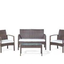 Beliani tuinset - rotan tuinset - tafel + bank + 2 stoelen - MARSALA Tuinmeubelen Bruin Kunststof