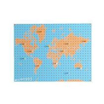 Block World Map Pegboard Pinbord L Wanddecoratie & -planken Multicolor Hout