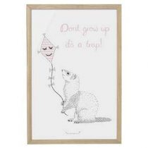 Bloomingville Don't Grow Up Poster in Lijst 60 x 40 cm Baby & kinderkamer Wit Hout