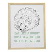 Bloomingville Sleep Like A Bear Poster in Lijst 60 x 40 cm Baby & kinderkamer Wit Hout