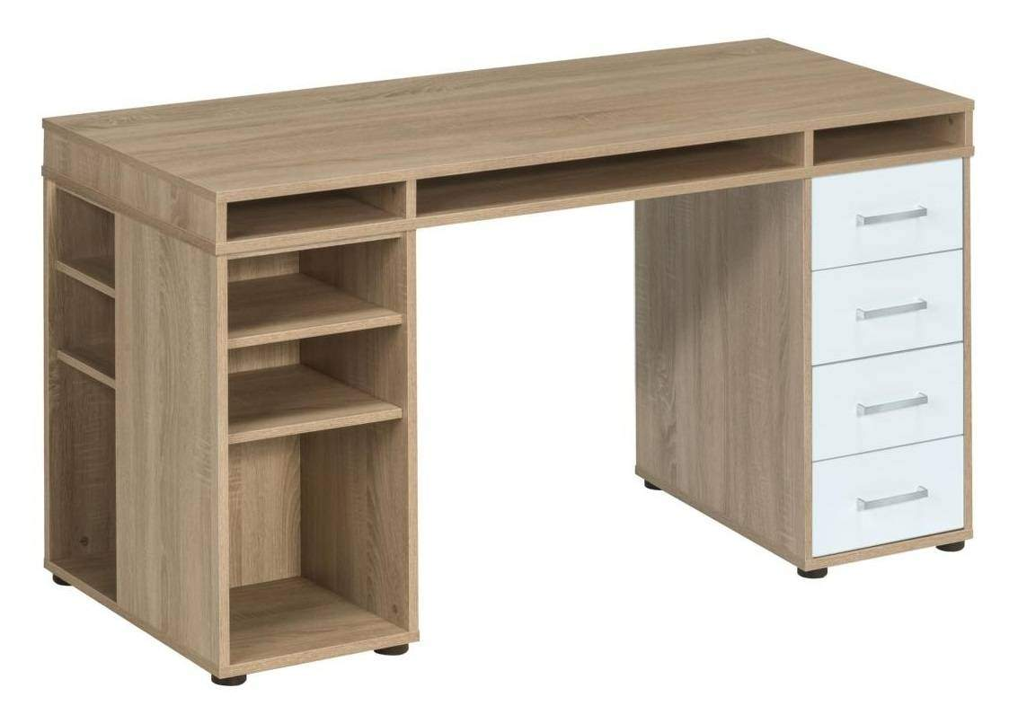 bureau cooper 150 cm breed sonoma eiken met wit. Black Bedroom Furniture Sets. Home Design Ideas