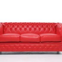 Chesterfield Original Brighton 3-zits Modern Rood Banken Rood Hout