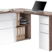 0.00 - Computer hoekbureau Smooth - Truffel Eiken met Hoogglans wit - Kantoortafels