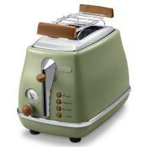De'Longhi Icona Vintage Broodrooster Keukenapparatuur Groen RVS