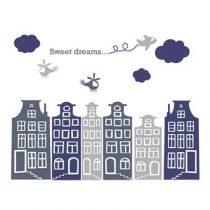 DecoDeco Huisjes en Luchtballonnen Muursticker Baby & kinderkamer Blauw