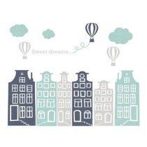 DecoDeco Huisjes en Luchtballonnen Muursticker Baby & kinderkamer Grijs