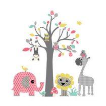 DecoDeco Safari Boom Muursticker Baby & kinderkamer Roze Kunststof