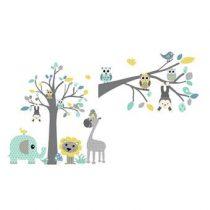 DecoDeco Safari Boom en Tak Muursticker Baby & kinderkamer Blauw Kunststof