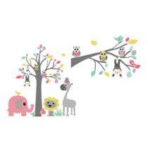 DecoDeco Safari Boom en Tak Muursticker Baby & kinderkamer Roze Kunststof