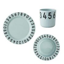 Design Letters The Numbers Giftset Kinderservies & bestek Groen Kunststof