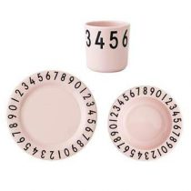 Design Letters The Numbers Giftset Kinderservies & bestek Roze Kunststof