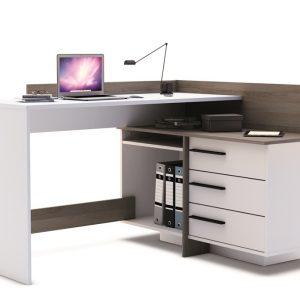 0.00 - Dexter Computer hoekbureau - Wit met donker eiken - Kantoortafels