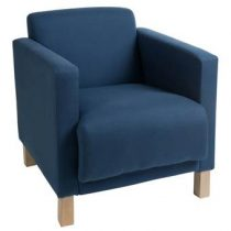 Dulaire Fauteuil Blauw Modern Stoelen Blauw Hout