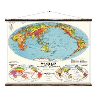 Erstwhile Wereldkaart Poster Wanddecoratie & -planken Multicolor Canvas