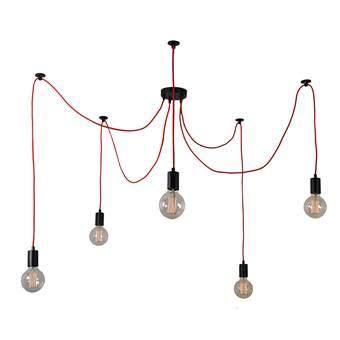 FilamentStyle Spider 5 Hanglamp Verlichting Rood Kunststof