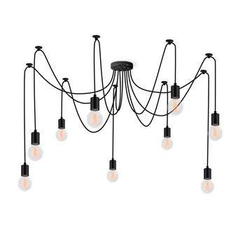 FilamentStyle Spider 9 Hanglamp Verlichting Zwart Kunststof