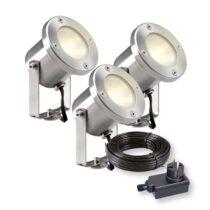 Garden Lights Catalpa Spot 12V Bundelset 3 st. Buitenverlichting Zilver RVS