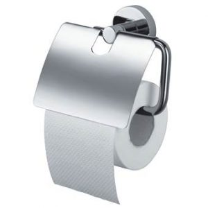Haceka Kosmos Chrome Toiletrolhouder met klep Toiletaccessoires Zilver Metaal