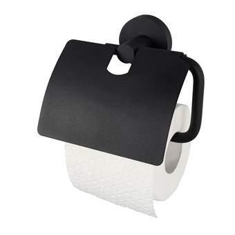 Haceka Kosmos Toiletrolhouder met klep Toiletaccessoires Zwart Metaal