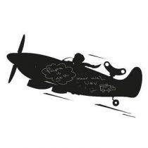 KEK Amsterdam Toys For Boys Airplane XL Muursticker Wanddecoratie & -planken Zwart Kunststof