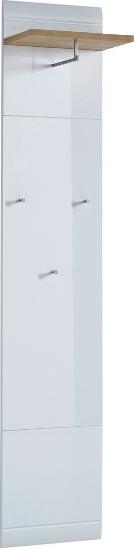 0.00 - Kapstokpaneel Malibu 197 cm hoog - hoogglans wit met edel beuken - Halmeubels