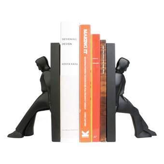 Kikkerland Leaning Men Boekensteun Woonaccessoires Zwart Steen