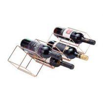 KitchenCraft Wijnrek 7 flessen Wijn assortiment Koper Metaal