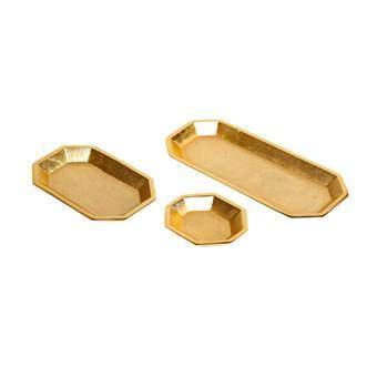 &Klevering Brass Dienbladen Set van 3 Tafelpresentatie Goud Messing