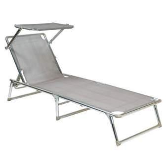 La Chaise Longue Ligbed met zonnedakje Tuinmeubels Zilver Aluminium
