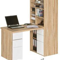0.00 - Mini Office bureau Funix - Eiken met hoogglans wit - Kantoortafels