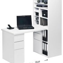 0.00 - Mini Office bureau Funix - Wit met hoogglans wit - Kantoortafels