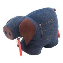 Monica Richards Chester the Pig Deurstopper Hal accessoires Blauw Textiel
