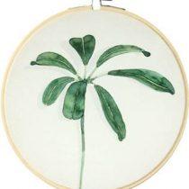 Olislagers Schilderij parapluplant blad groot Wanddecoratie Groen Hout