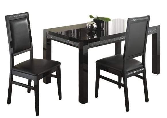 80.00 - Perla black Eettafel 160 cm breed - Hoogglans zwart - Eetkamertafels