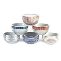 Pols Potten Stripes & Blocks Kommen S set van 6 Servies Blauw