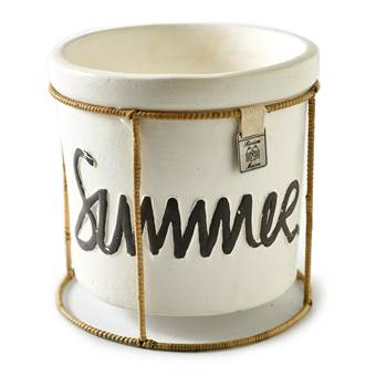 Riviera Maison Rieten Bloempot.Riviera Maison Happy Summer Pot Wit Keramiek