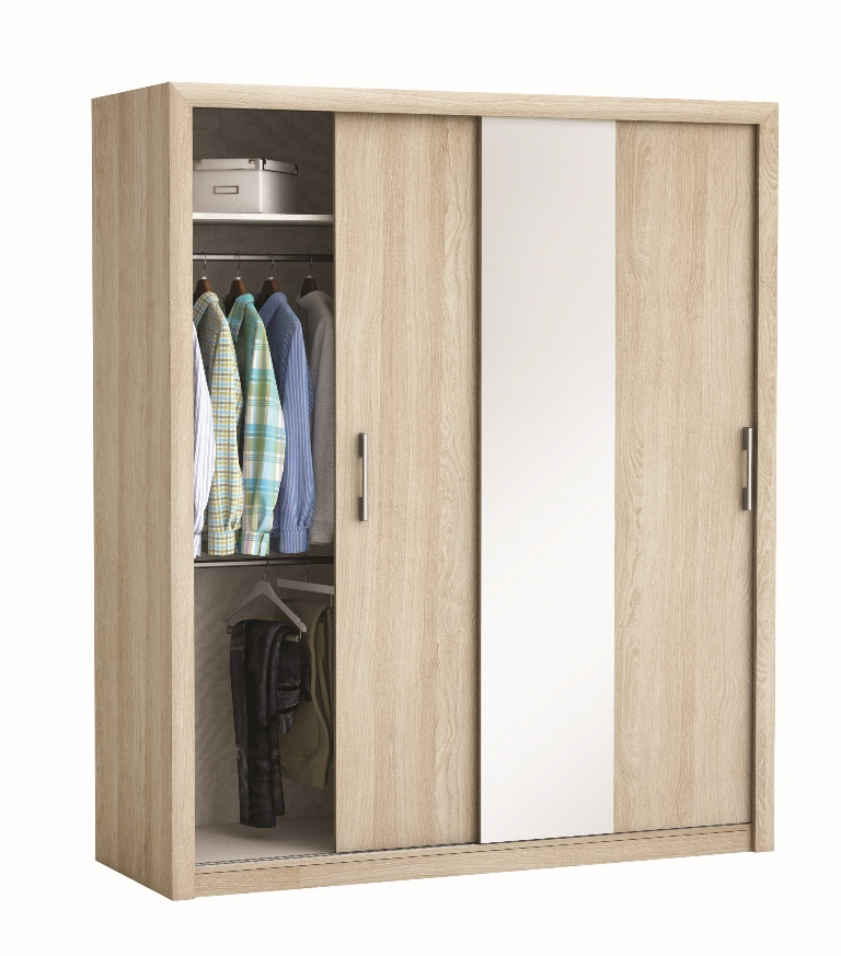 schuifdeurkast pretty 180 cm breed shannon eiken met spiegel young furniture. Black Bedroom Furniture Sets. Home Design Ideas