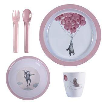 Sebra In the Sky Melamine Kinderservies Kinderservies & bestek Roze Melamine