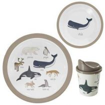 Sebra Pooldieren Melamine Servies 3-delig Kinderservies & bestek Bruin