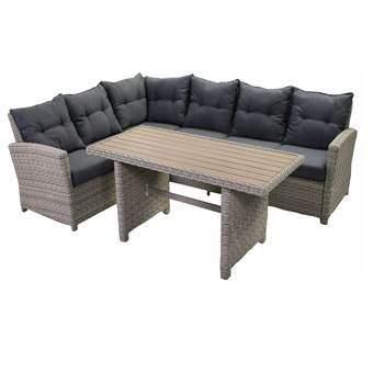 SenS-Line Bari Lounge- Diningset Tuinmeubels Beige Aluminium