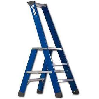 Skyworks Premium Bordestrap 3 Treden Trapjes Blauw Aluminium